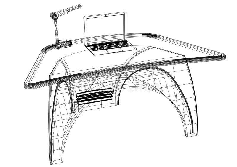 Modelo moderno del escritorio 3D del ordenador - aislado libre illustration