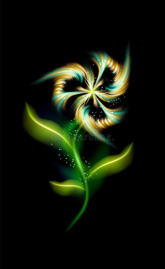 Modelo moderno del vector de la flor que brilla intensamente Elemento ornamental colorido floral en fondo negro Ornamentos de mod ilustración del vector