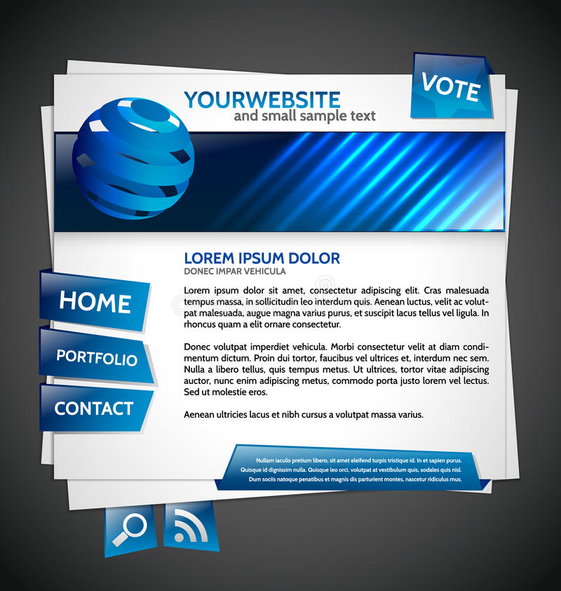 Modelo moderno del Web site con el globo ilustración del vector