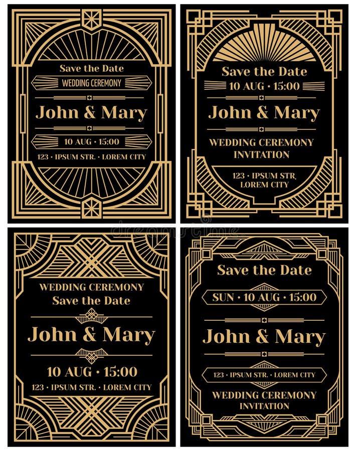 Modelo moderno do vetor do convite do casamento no estilo retro do art deco clássico ilustração do vetor