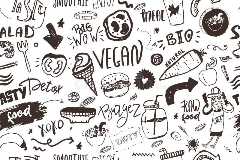 Modelo moderno inconsútil del vegano con la comida healty Artículos dibujados mano del bosquejo Estilo del inconformista libre illustration