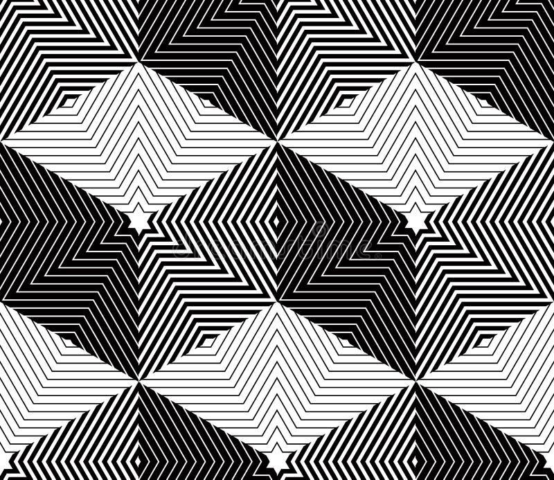 Modelo monocromático continuo ilusorio, parte posterior decorativa del extracto stock de ilustración