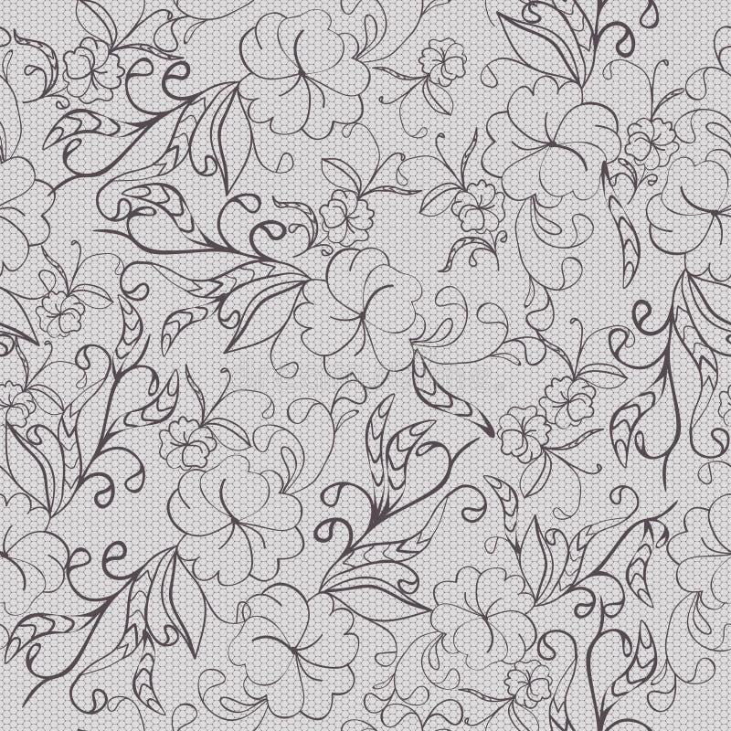 Modelo monocromático floral gris inconsútil ilustración del vector