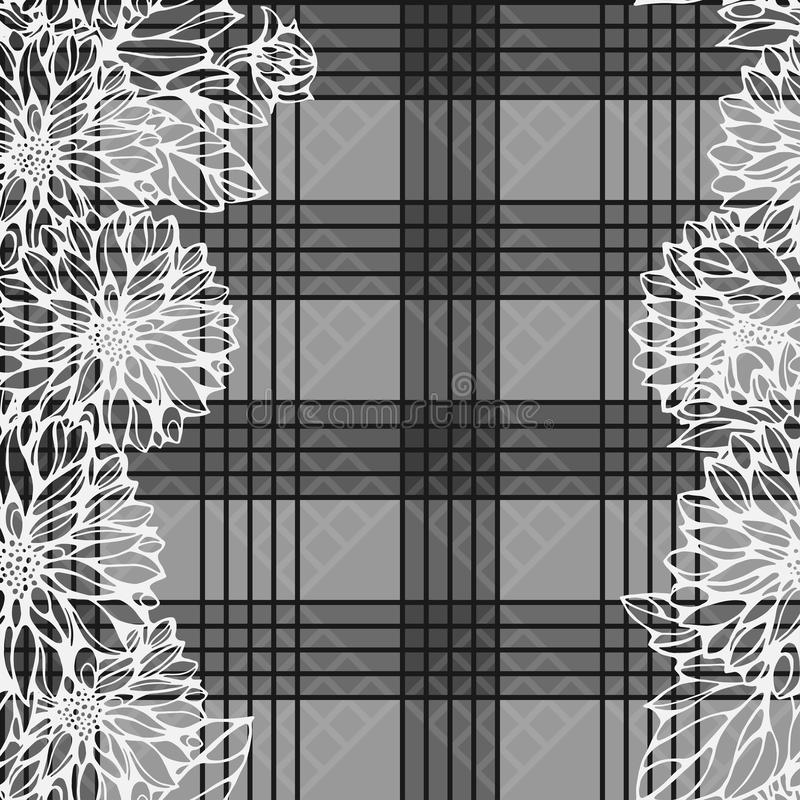 Modelo monocromático inconsútil con las flores de la dalia libre illustration