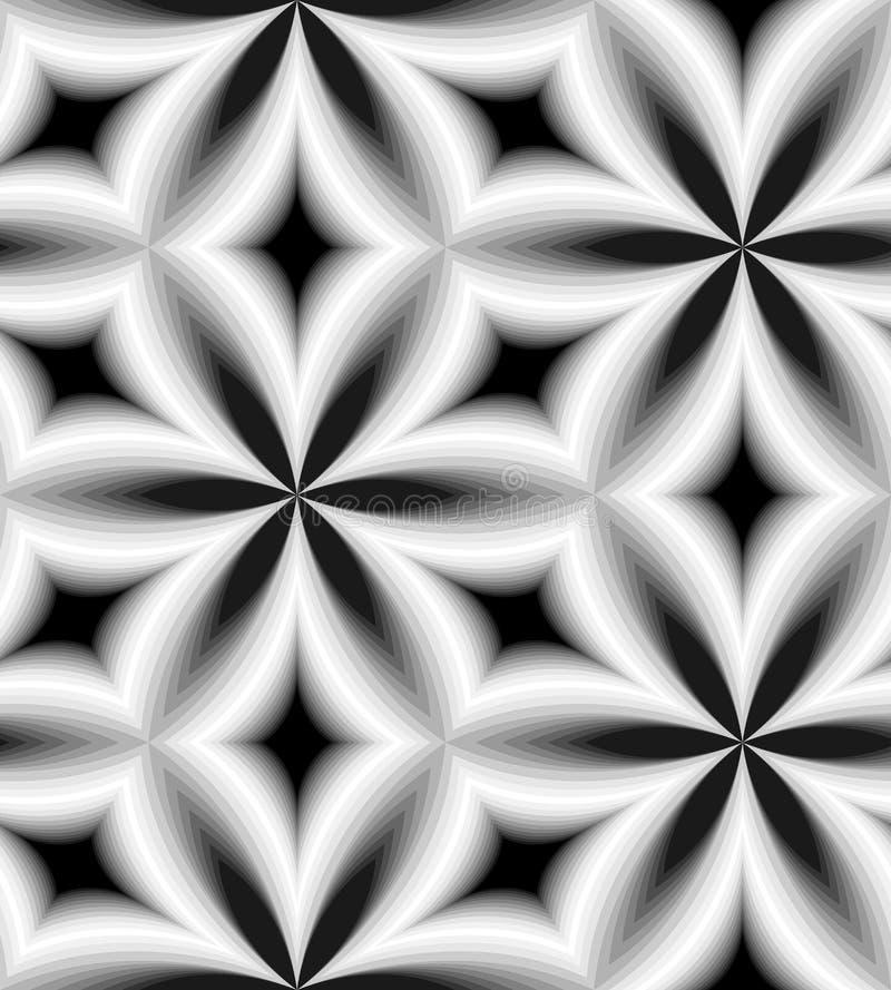 Modelo monocromático inconsútil de diamantes curvados Fondo abstracto geométrico Efecto visual del volumen ilustración del vector