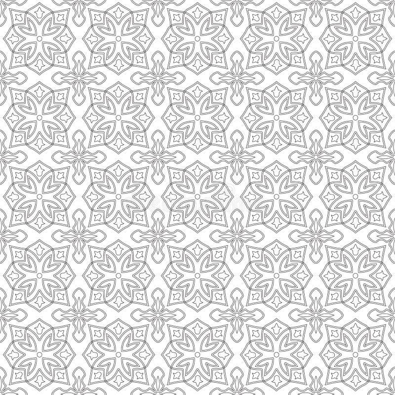 Modelo monocromático inconsútil en el fondo transparente, estilo árabe ilustración del vector