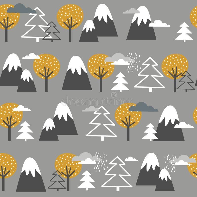 Modelo, montañas, abetos y árboles inconsútiles coloridos Fondo decorativo con el bosque, montañas stock de ilustración