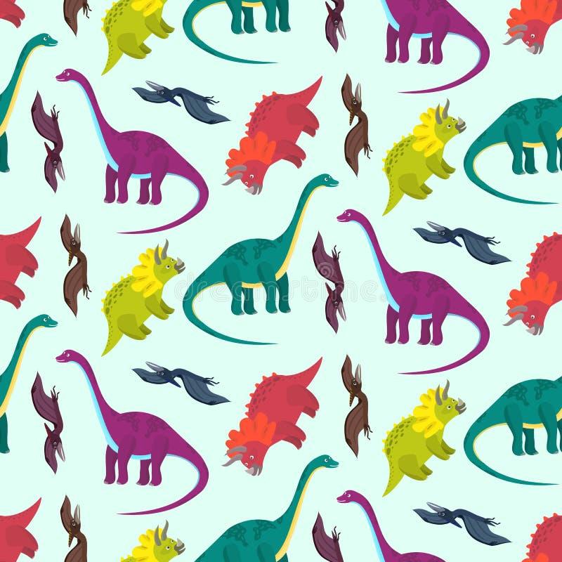 Modelo multicolor de los dinosaurios de la historieta linda libre illustration