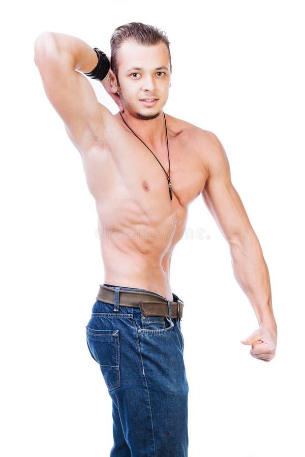 Modelo muscular contento fotos de archivo