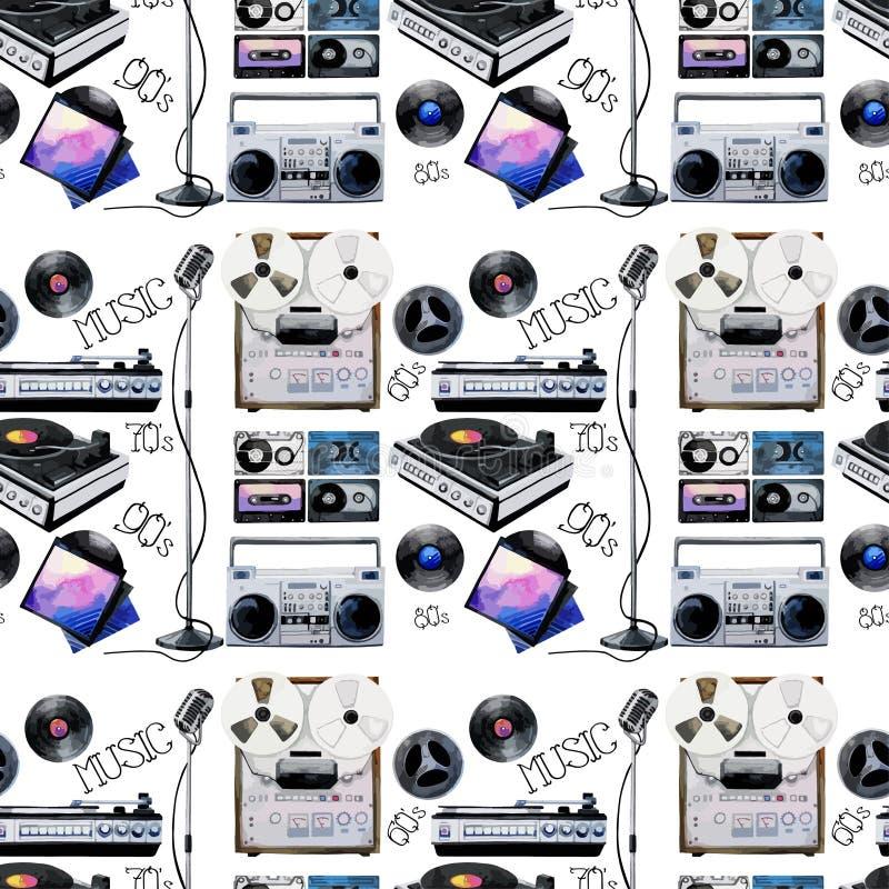 Modelo musical de los dispositivos de la acuarela libre illustration
