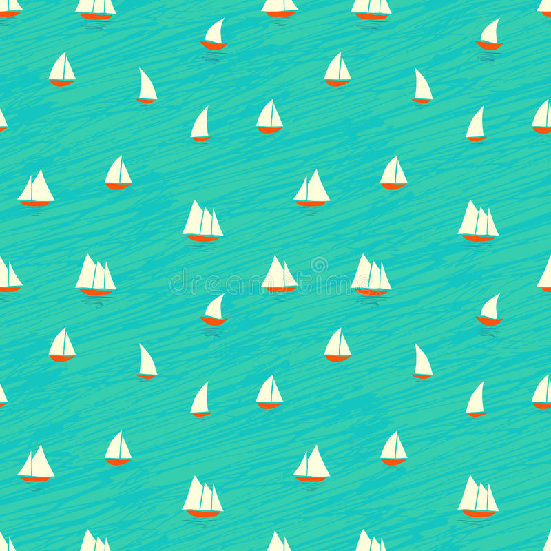 Modelo náutico con los botes pequeños en ondas ilustración del vector