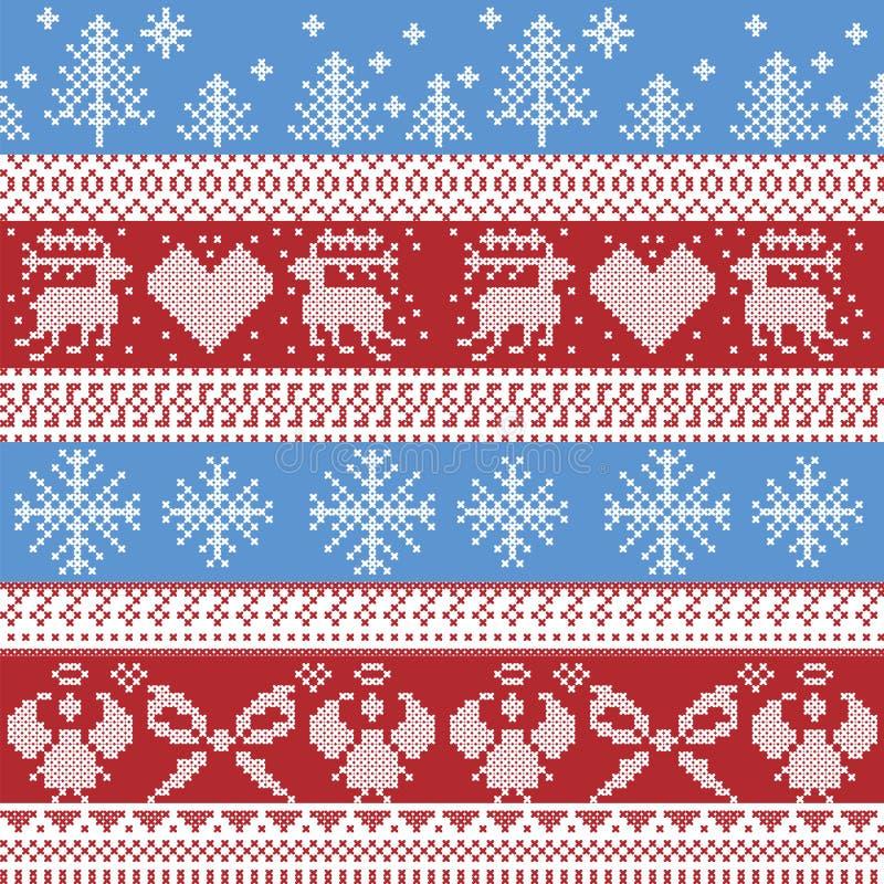 Modelo nórdico azul y rojo del invierno de la Navidad con el reno, conejos, árboles de Navidad, ángeles, arco en puntada escandin stock de ilustración