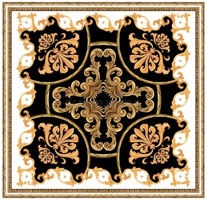 modelo negro blanco de la bufanda del fondo del ornamento barroco de oro stock de ilustración