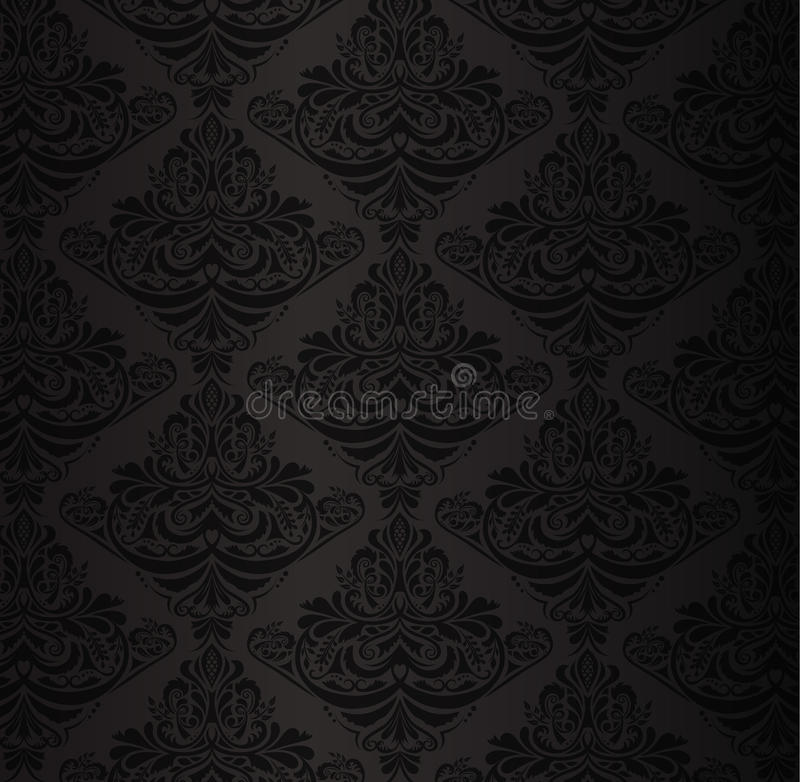 Modelo negro del damasco con el ornamento floral del vintage stock de ilustración