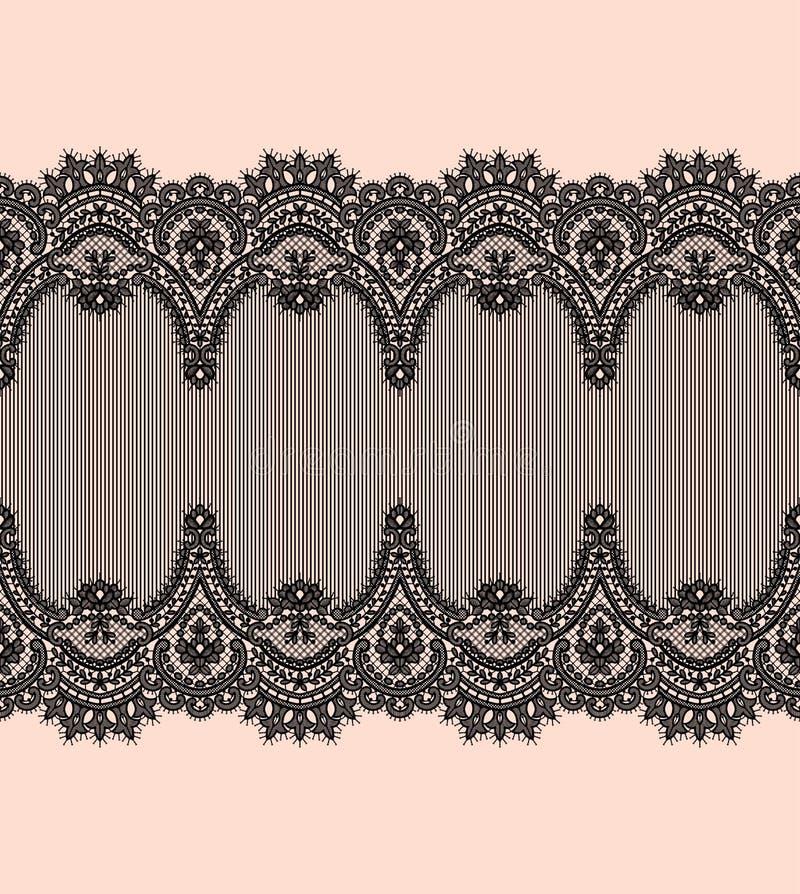 Modelo negro del vector del cordón Cinta horizontal Frontera libre illustration