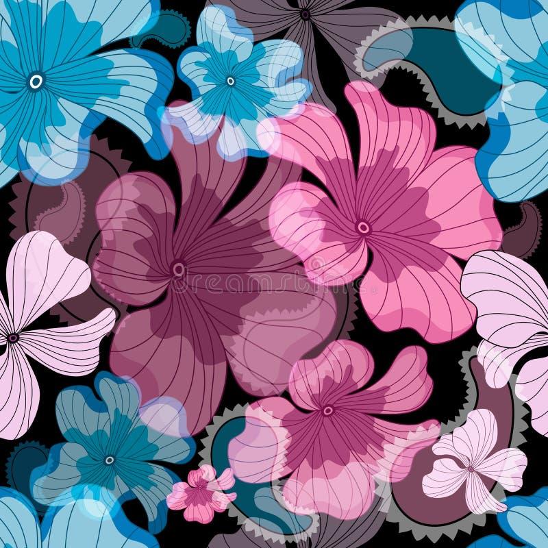 Modelo negro floral inconsútil stock de ilustración