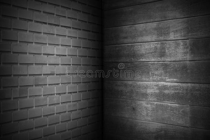 Modelo negro oscuro de la pared de ladrillos con la textura negra de madera de la pared, fondo abstracto, espacio de la copia stock de ilustración