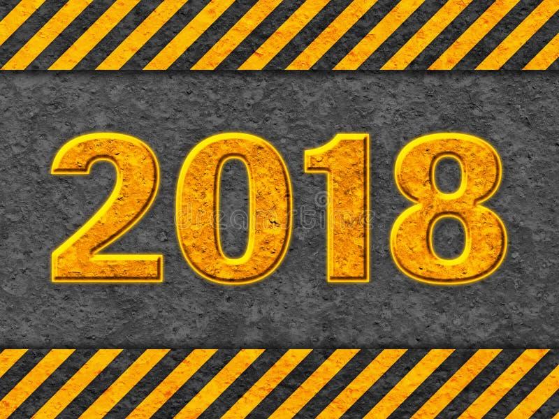 Modelo negro y anaranjado del Grunge con el texto 2018 libre illustration