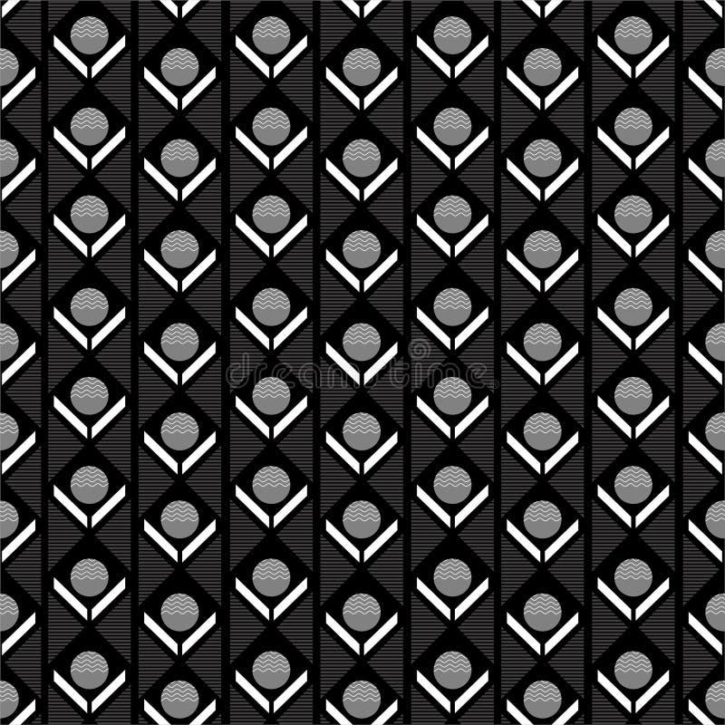Modelo negro y gris monótono del vector de la geometría Mezcle el ornamento inconsútil del círculo, del triángulo y de la forma d stock de ilustración