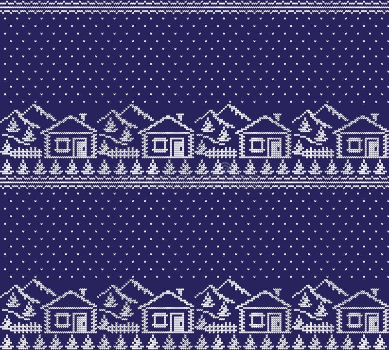 Modelo noruego festivo inconsútil del pixel del invierno del Año Nuevo de la Navidad - estilo escandinavo stock de ilustración