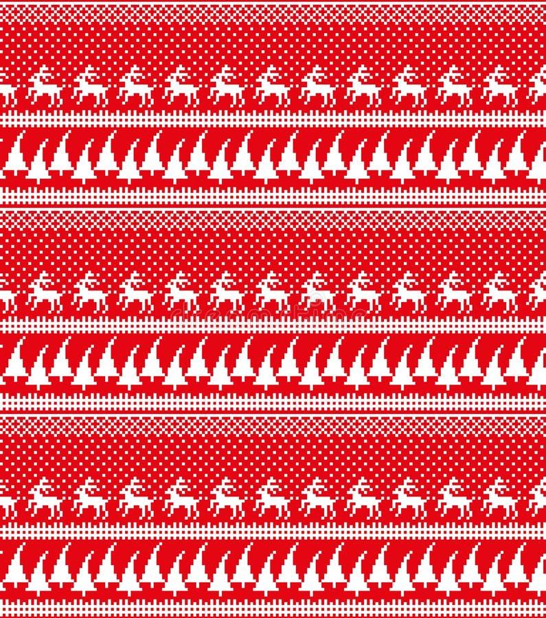 Modelo noruego festivo inconsútil del pixel del invierno del Año Nuevo de la Navidad - estilo escandinavo libre illustration