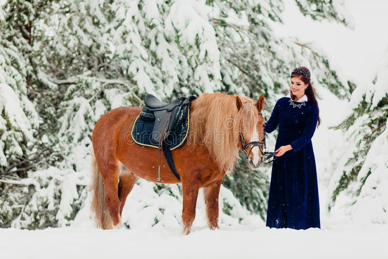 Modelo novo bonito com o cavalo imagem de stock royalty free