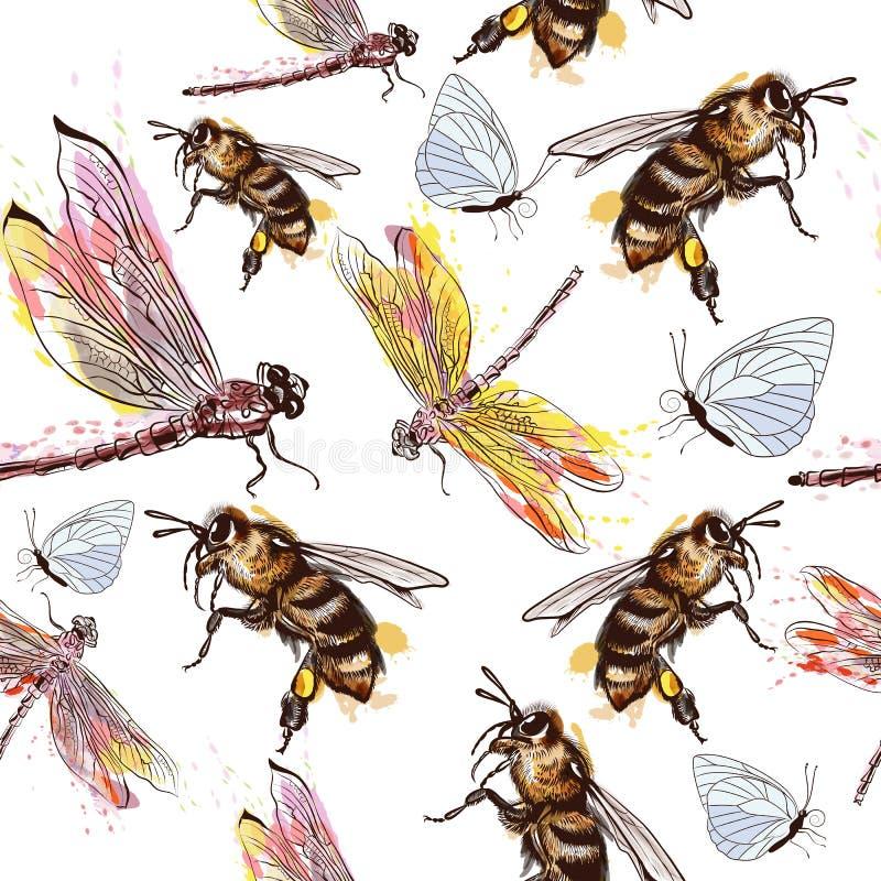 Modelo o fondo hermoso con la libélula, las abejas y el butterf libre illustration