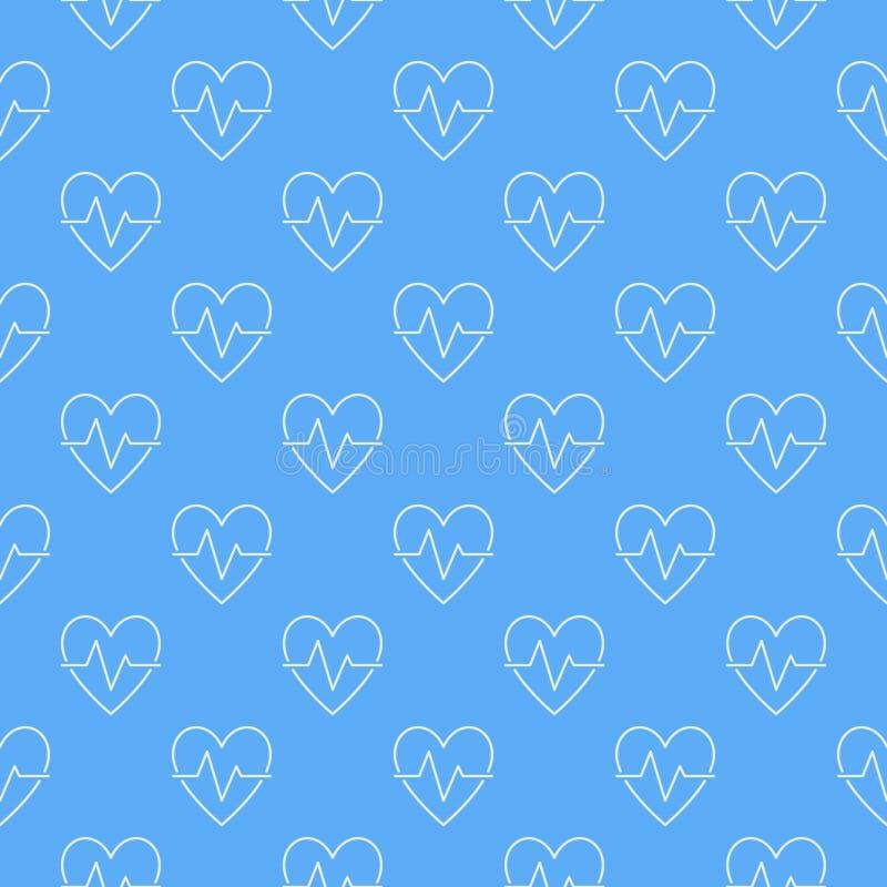 Modelo o fondo inconsútil azul del vector del ciclo cardiaco ilustración del vector