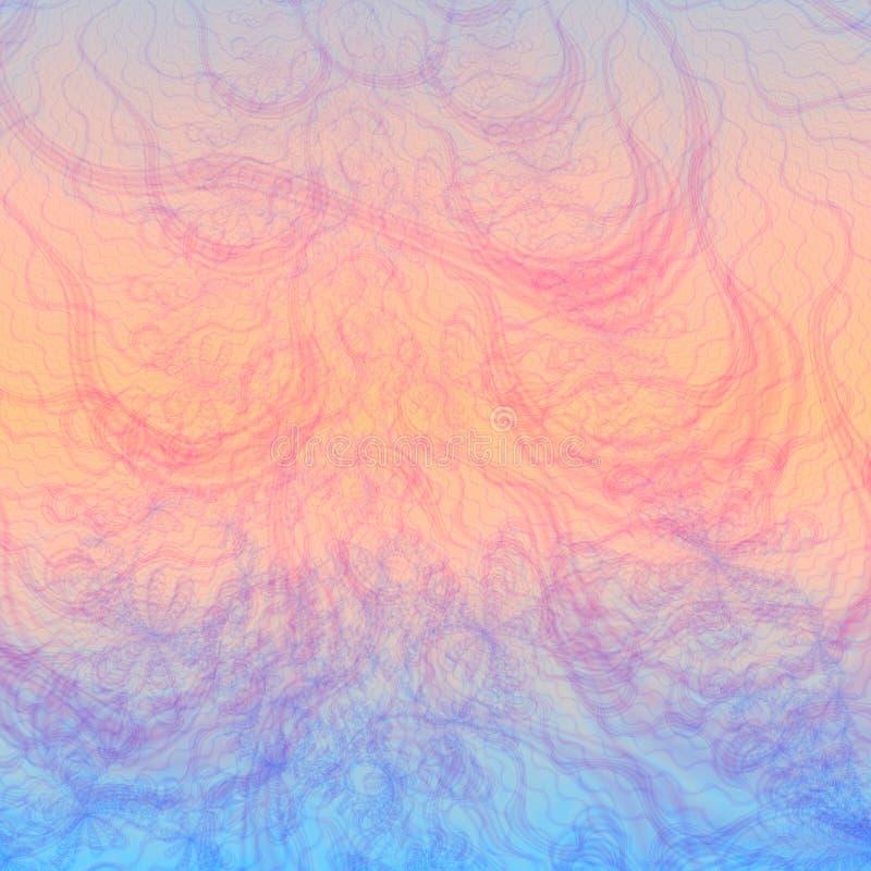 Modelo o papel pintado abstracto del fondo en cortinas en colores pastel sutiles de azul, rosado, anaranjado stock de ilustración
