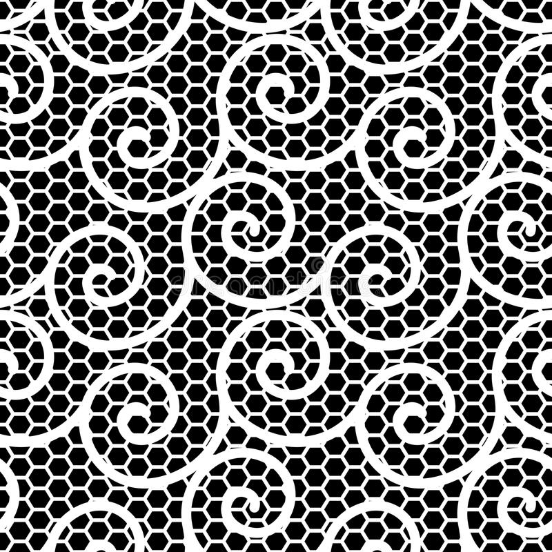 Modelo ondulado blanco y negro del cordón ilustración del vector