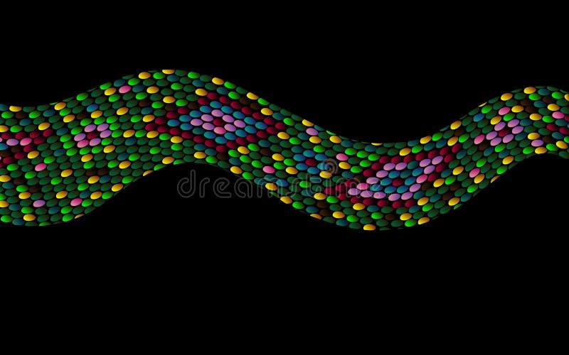 Modelo ondulado coloreado extracto de la piel de serpiente ilustración del vector