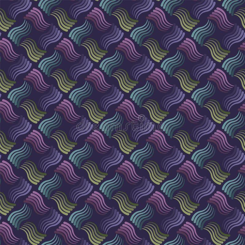 Modelo ondulado inconsútil de las rayas con el fondo oscuro Vector que repite textura con las líneas onduladas ilustración del vector