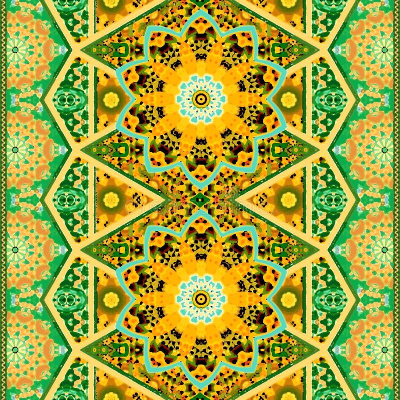 Modelo ornamental étnico inconsútil con la flor de la mandala y la frontera hermosa del zigzag en tonos verdes y anaranjados stock de ilustración