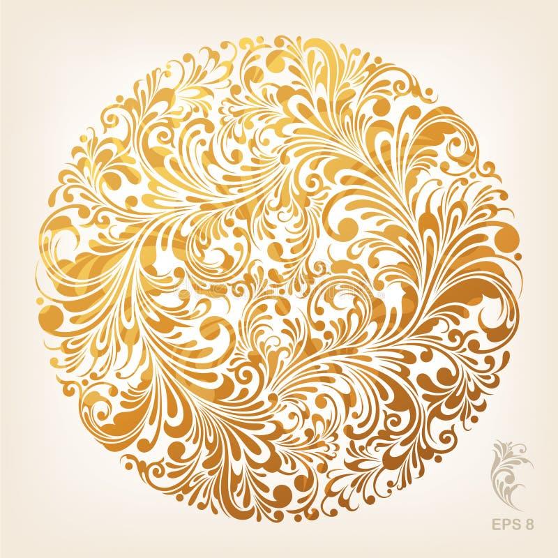 Modelo ornamental del círculo del oro imagen de archivo
