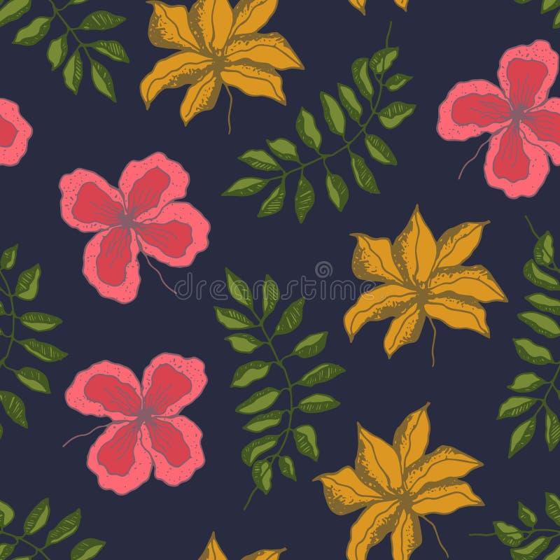 Modelo oscuro con las flores y las hojas tropicales ilustración del vector