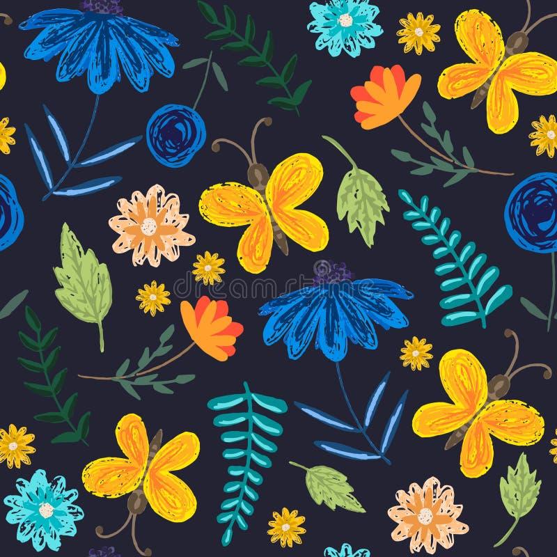 Modelo oscuro lindo con las flores y las mariposas ilustración del vector