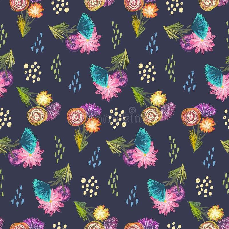 Modelo oscuro lindo con los ramos incompletos de las flores stock de ilustración