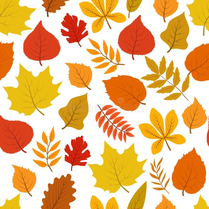 Modelo otoñal de otoño del bosque del vector inconsútil de oro de las hojas stock de ilustración