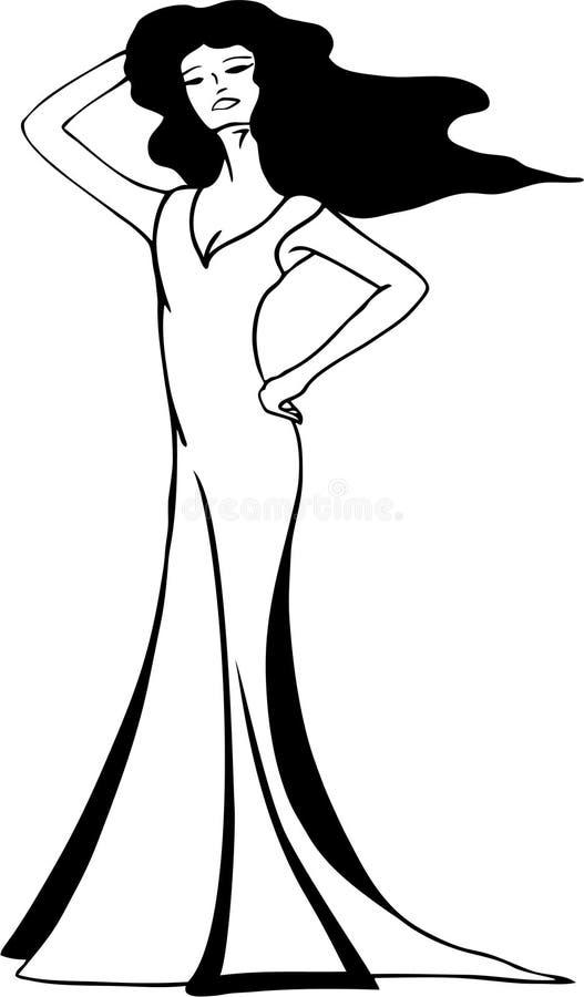 Modelo ou actriz no vestido longo à moda ilustração royalty free