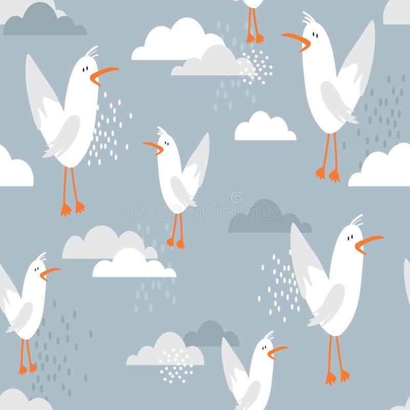 Modelo, pájaros y nubes inconsútiles coloridos Fondo lindo decorativo con las gaviotas libre illustration