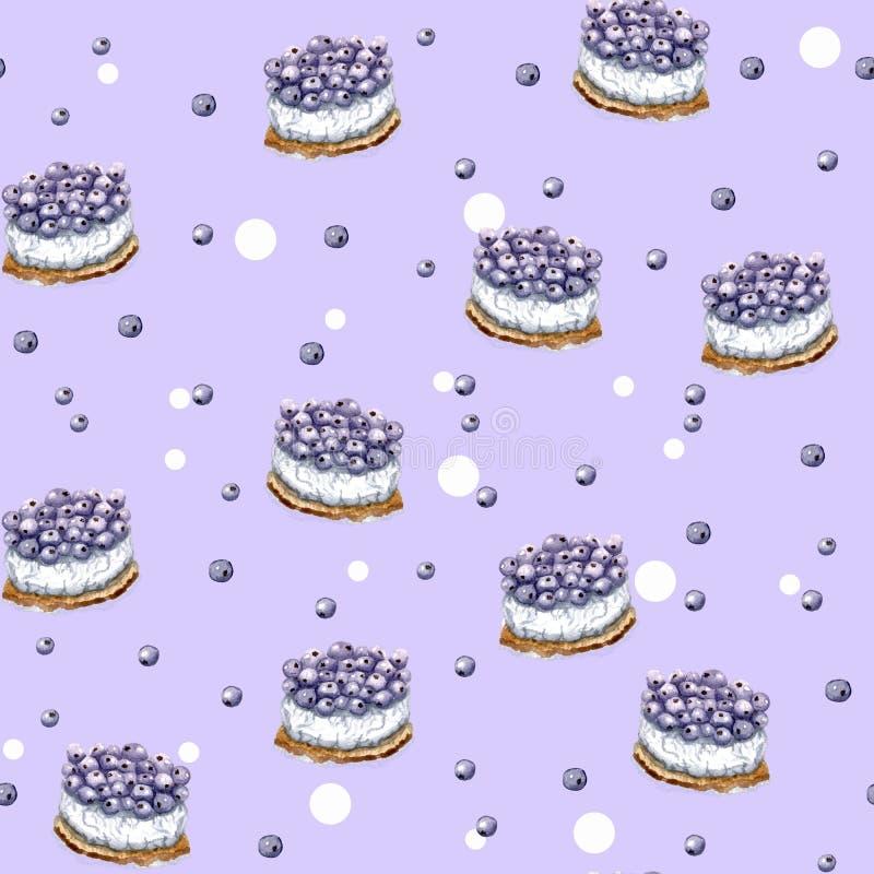 Modelo púrpura del cumpleaños colorido con las tortas ilustración del vector