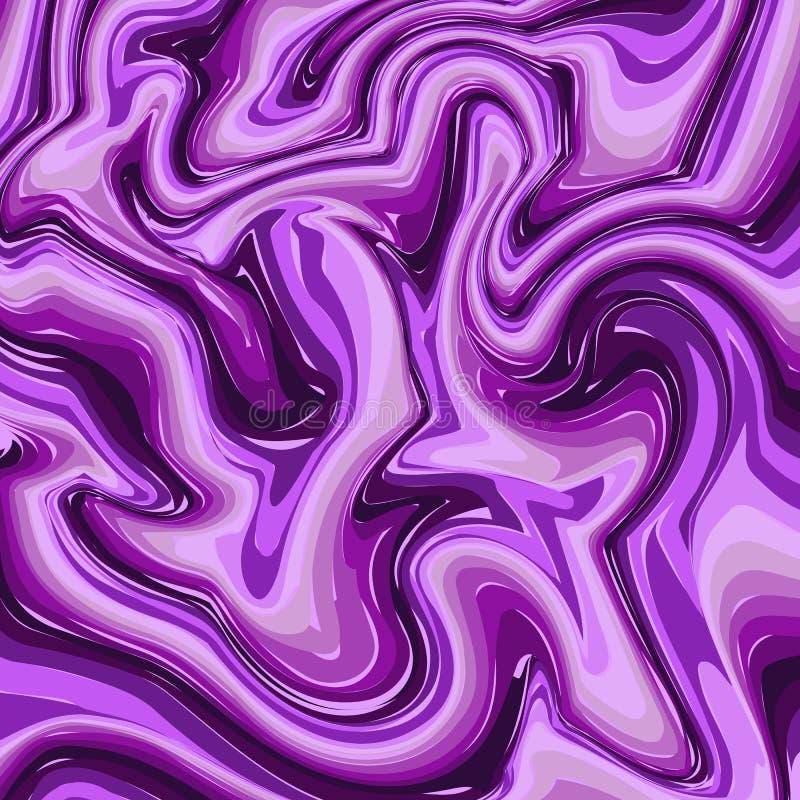 Modelo púrpura del mármol o de la tinta Fondo pintado brillante colorido del vector de las rayas onduladas Textura abstracta de l stock de ilustración