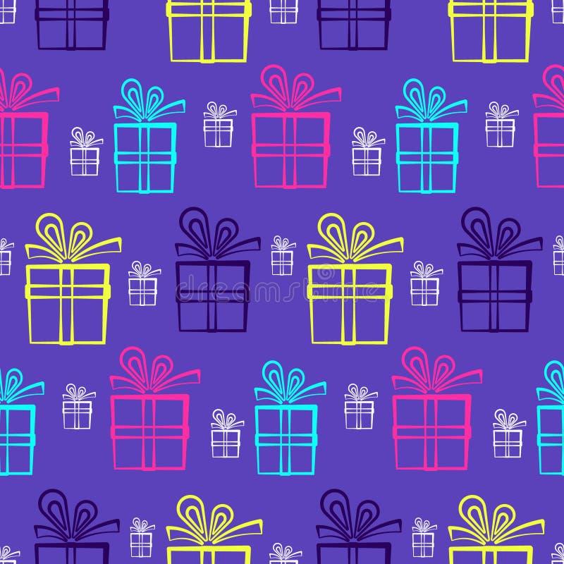 Modelo púrpura lindo con las actuales cajas brillantes ilustración del vector