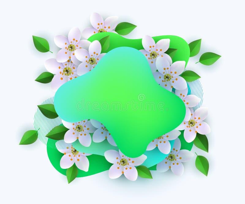 Modelo para banner, pôster, carta com pontos abstratos verdes de gradiente, flores e folhas de macieiras ilustração stock