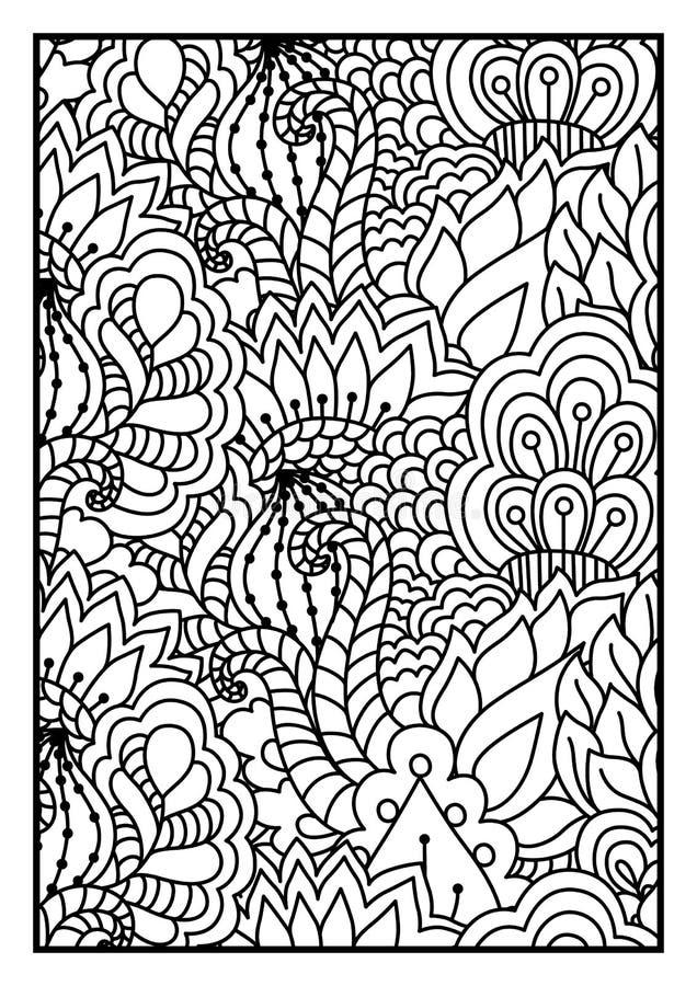Modelo para el libro de colorear Fondo blanco y negro con floral, étnico, elementos dibujados mano para el diseño ilustración del vector