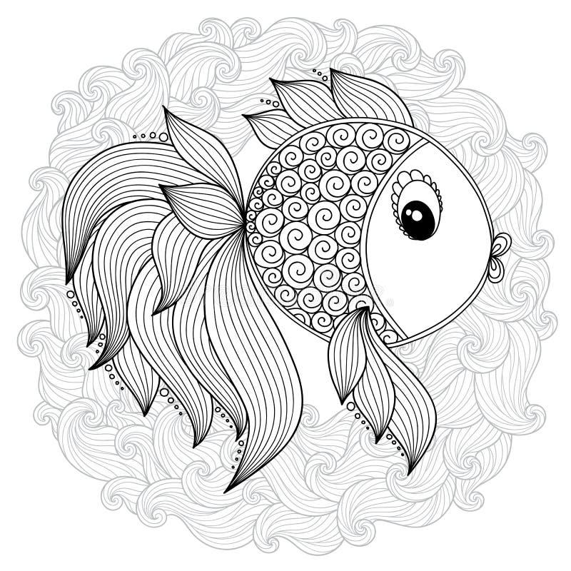 Modelo para el libro de colorear Pescados lindos de la historieta del vector stock de ilustración