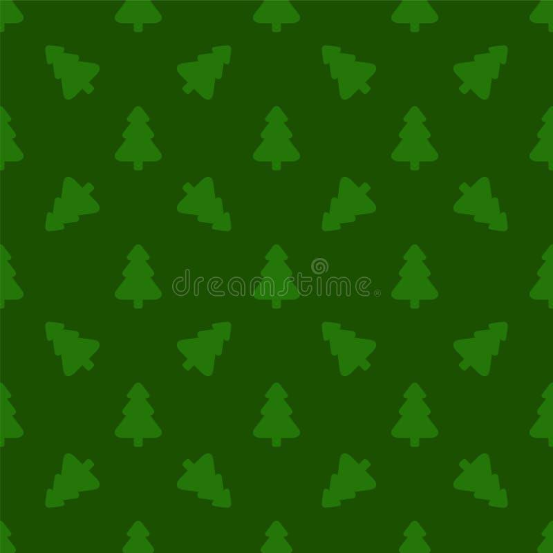 Modelo para el papel de embalaje Árbol de navidad en un fondo verde libre illustration