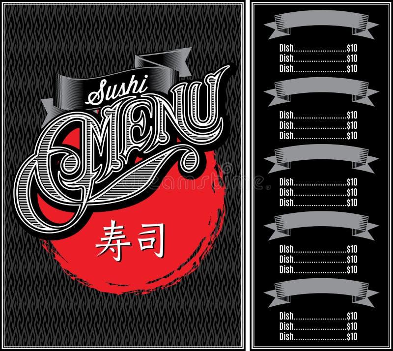 modelo para el sushi del menú sobre fondo y caligrafía negros stock de ilustración