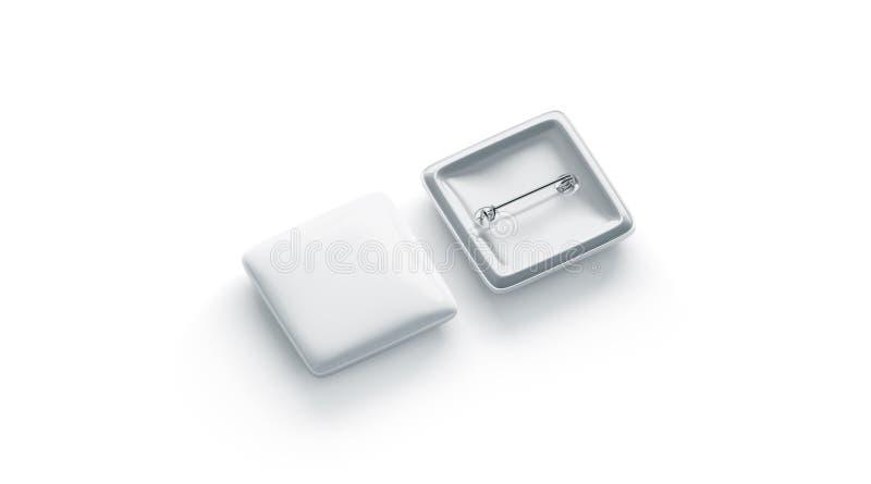Modelo, parte dianteira vazia e verso do crachá do quadrado branco, isolados ilustração do vetor