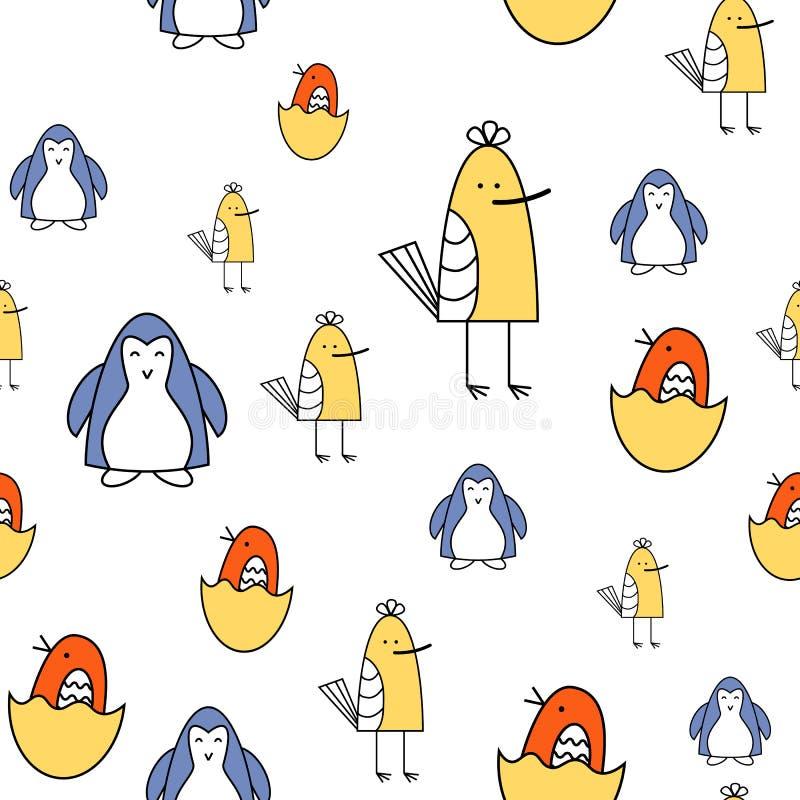 Modelo pintado colorido inconsútil de los pájaros de la historieta Fondo para los niños Ilustración del vector libre illustration